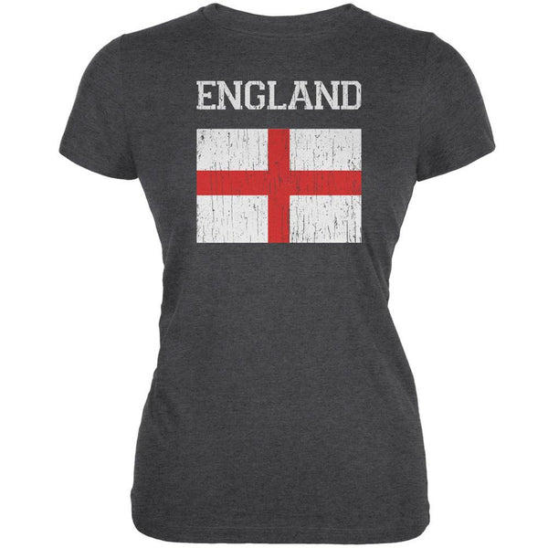 World Cup Distressed Flag England Dark Heather Juniors Soft T-Shirt