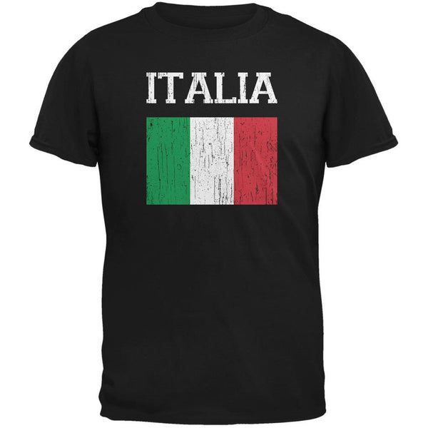 World Cup Distressed Flag Italia Black Adult T-Shirt
