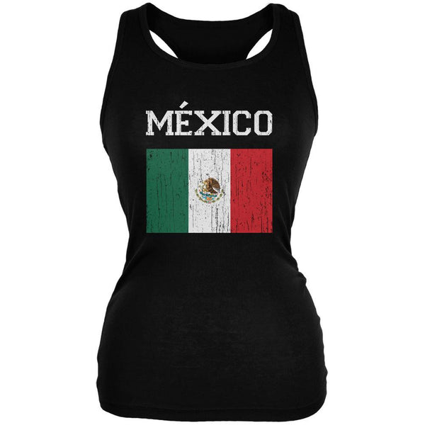 World Cup Distressed Flag Mexico Black Juniors Soft Tank Top