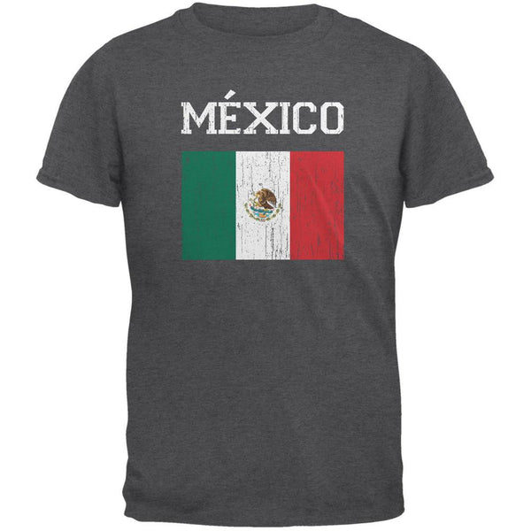World Cup Distressed Flag Mexico Dark Heather Adult T-Shirt