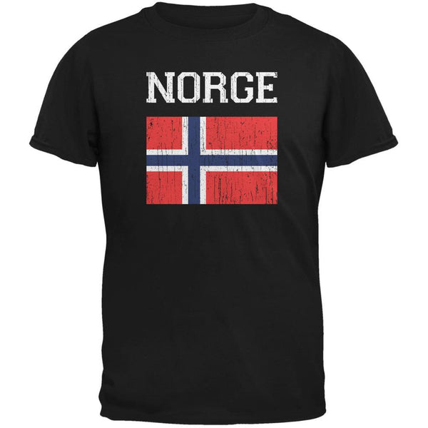 World Cup Distressed Flag Norge Black Adult T-Shirt