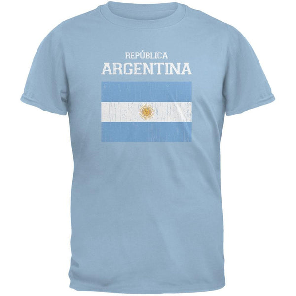 World Cup Distressed Flag Republica Argentina Light Blue Adult T-Shirt