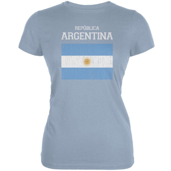 World Cup Distressed Flag Republica Argentina Light Blue Juniors Soft T-Shirt