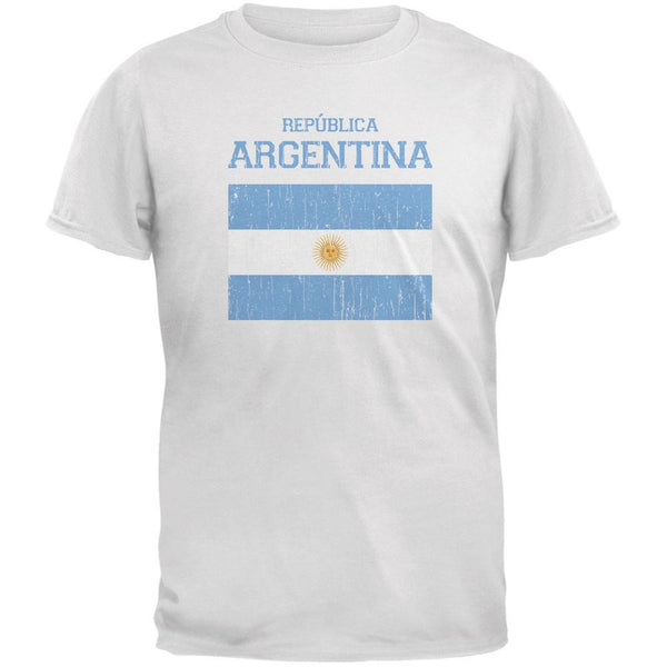 World Cup Distressed Flag Republica Argentina White Adult T-Shirt