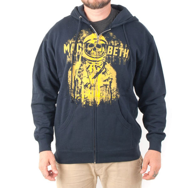 Macbeth - Deathnaut Heather Navy Adult Fleece Zip Hoodie