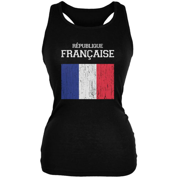 World Cup Distressed Flag Republique Francaise Black Juniors Soft Tank Top