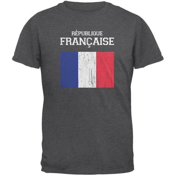 World Cup Distressed Flag Republique Francaise Dark Heather Adult T-Shirt