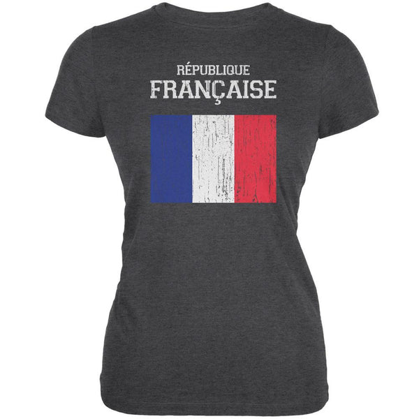 World Cup Distressed Flag Republique Francaise Dark Heather Juniors Soft T-Shirt