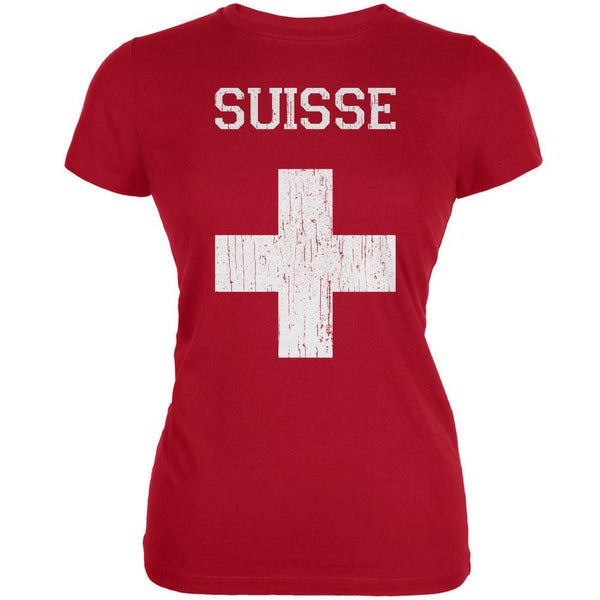 World Cup Distressed Flag Suisse Red Juniors Soft T-Shirt