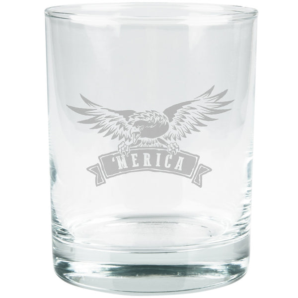 4th Of July 'Merica Eagle Etched Glass Tumbler