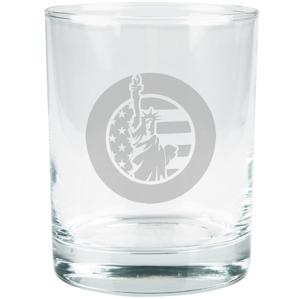 4th Of July Statue Of Liberty Etched Glass Tumbler