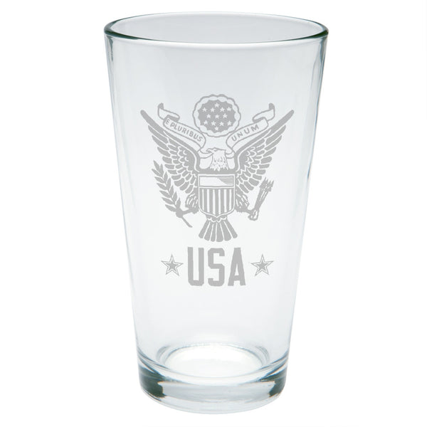 4th Of July USA Eagle Etched Pint Glass
