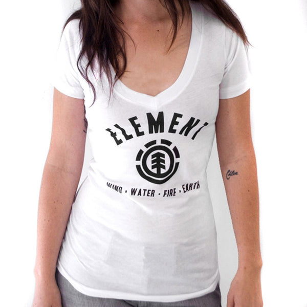 Element - Lock Up White Juniors V-Neck T-Shirt