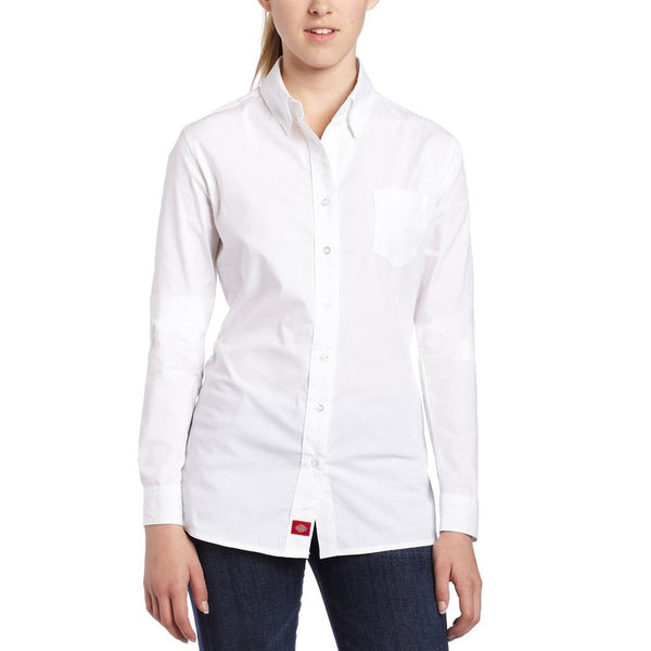 Dickies Girl - Poplin White Juniors Long Sleeve Button-Down T-Shirt