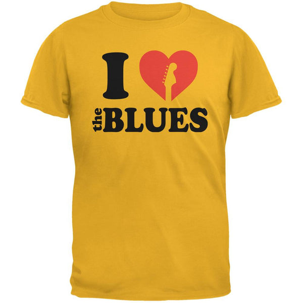 I Heart The Blues Gold Adult T-Shirt