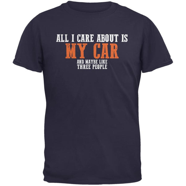 Sarcastic Care About My Car Navy Adult T-Shirt
