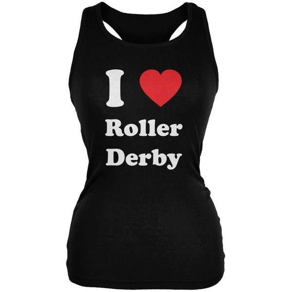 I Heart Roller Derby Black Juniors Soft Tank Top