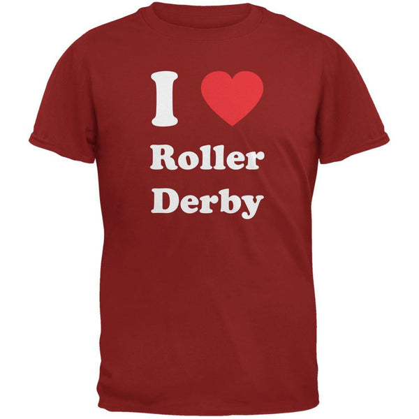 I Heart Roller Derby Cardinal Red Adult T-Shirt