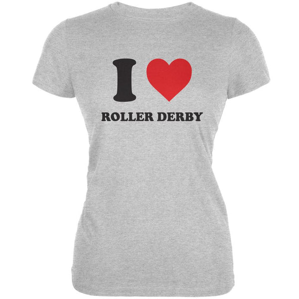 I Heart Roller Derby Heather Grey Juniors Soft T-Shirt