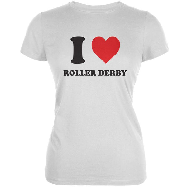 I Heart Roller Derby White Juniors Soft T-Shirt