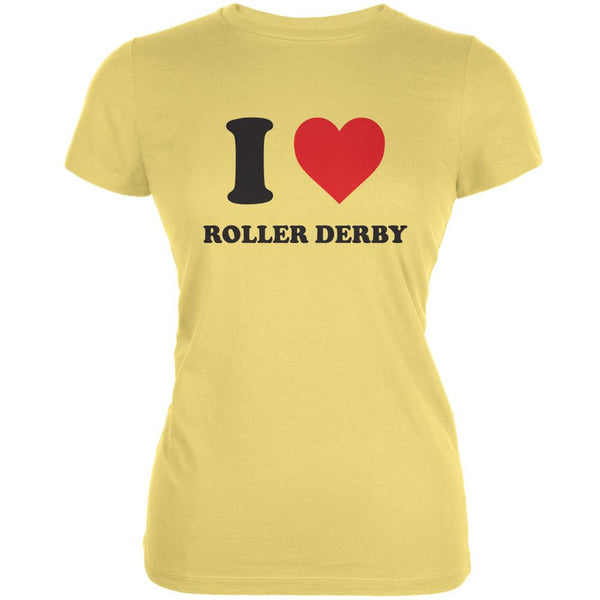 I Heart Roller Derby Yellow Juniors Soft T-Shirt