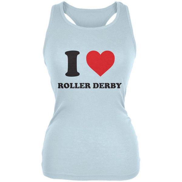 I Heart Roller Derby Pale Blue Juniors Soft Tank Top