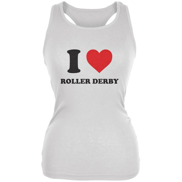 I Heart Roller Derby White Juniors Soft Tank Top