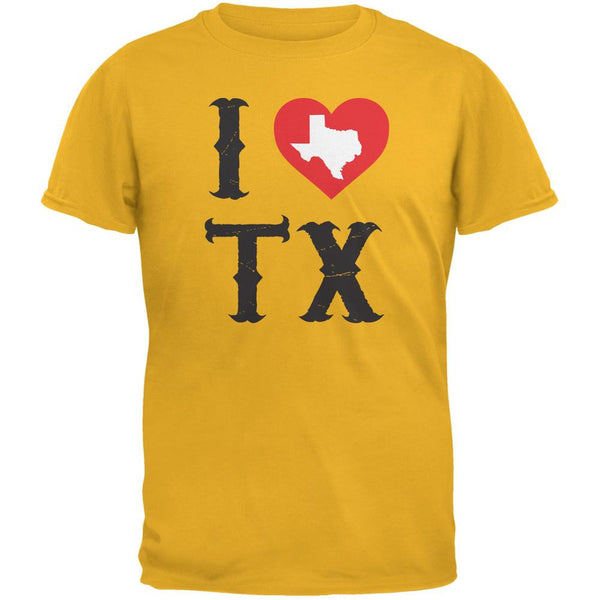 I Heart TX Gold Adult T-Shirt