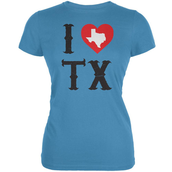 I Heart TX Aqua Juniors Soft T-Shirt
