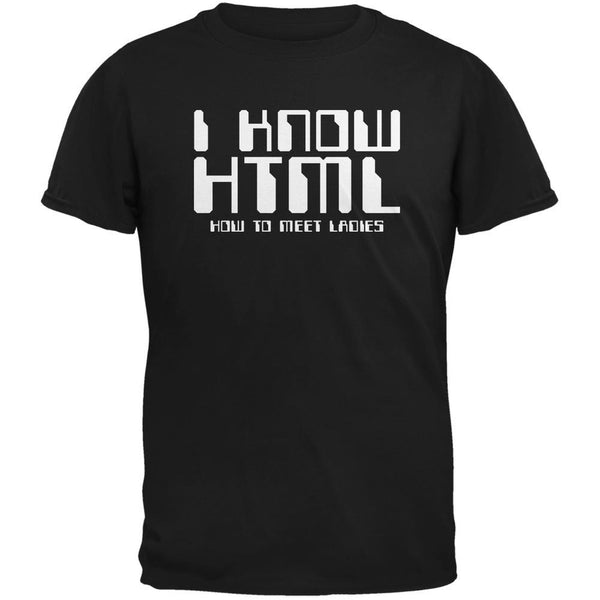 I Know HTML Black Adult T-Shirt