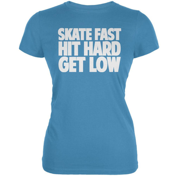 Roller Derby Skate Fast Aqua Juniors Soft T-Shirt