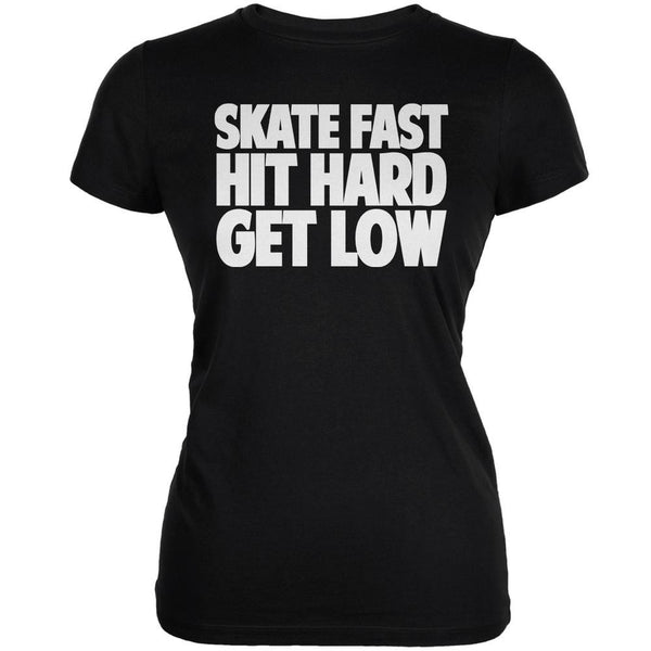 Roller Derby Skate Fast Black Juniors Soft T-Shirt