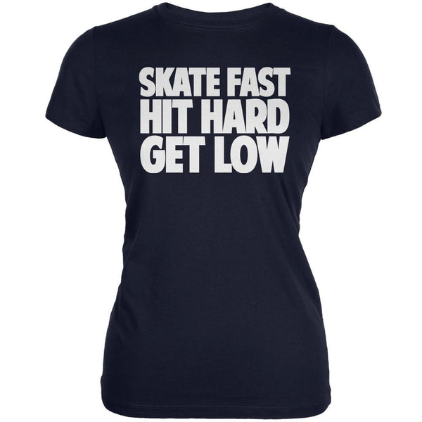 Roller Derby Skate Fast Navy Juniors Soft T-Shirt