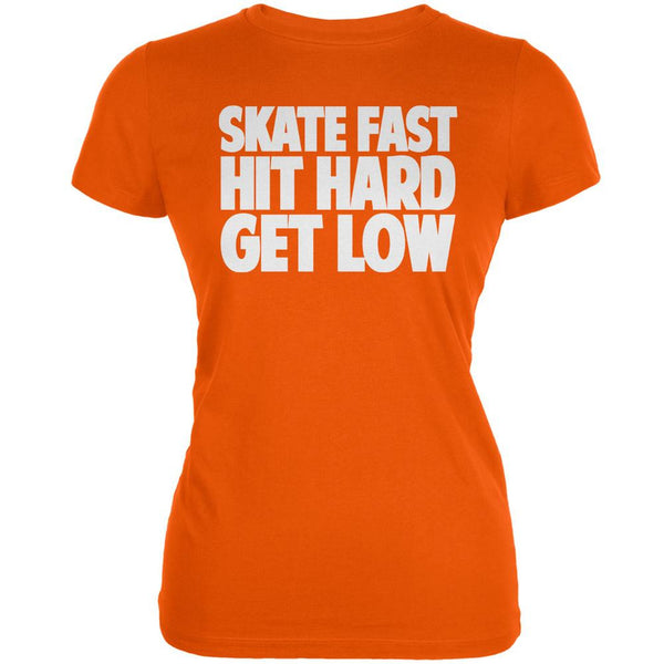 Roller Derby Skate Fast Orange Juniors Soft T-Shirt
