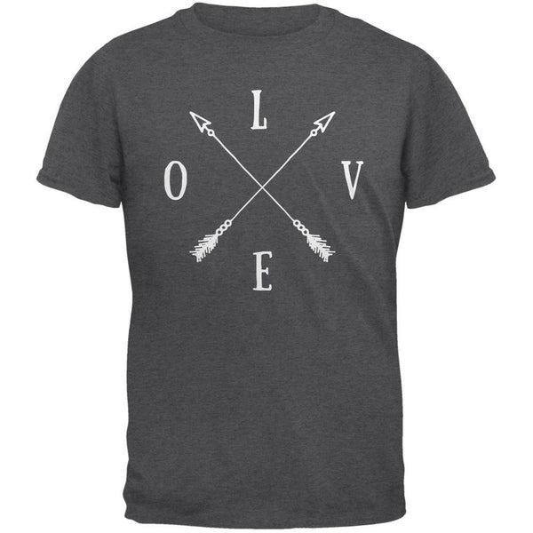 LOVE Tribal Crossed Arrows Dark Heather Adult T-Shirt