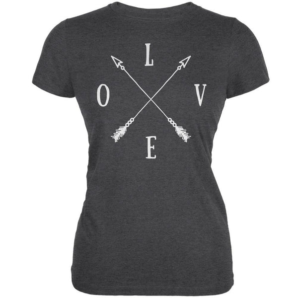 LOVE Tribal Crossed Arrows Dark Heather Juniors Soft T-Shirt
