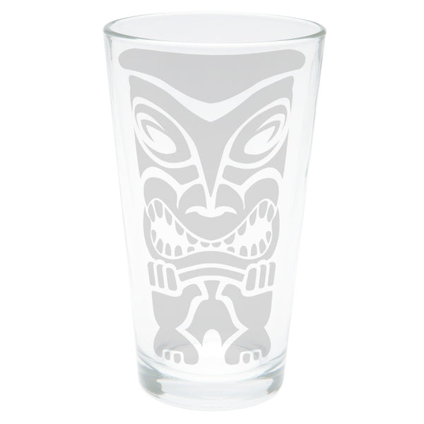 Tiki Face 1 Etched Pint Glass
