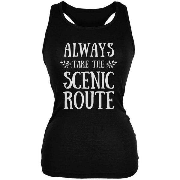 Hiking Always Take the Scenic Route Black Juniors Soft Tank Top