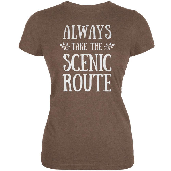 Hiking Always Take the Scenic Route Heather Brown Juniors Soft T-Shirt