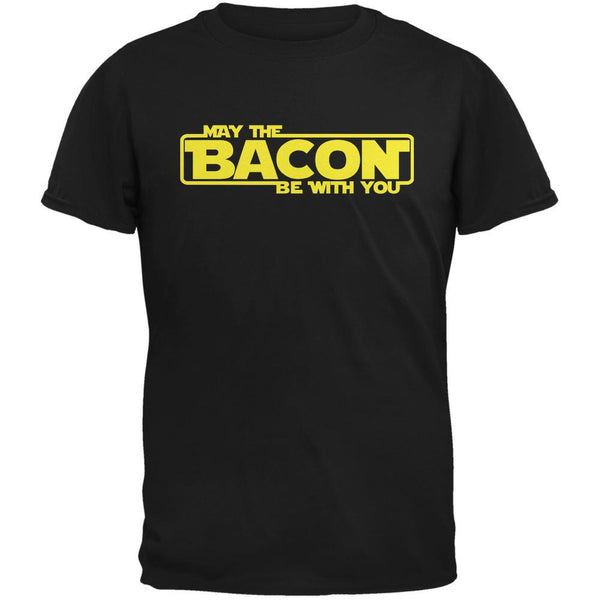 May The Bacon Be With You Black Adult T-Shirt