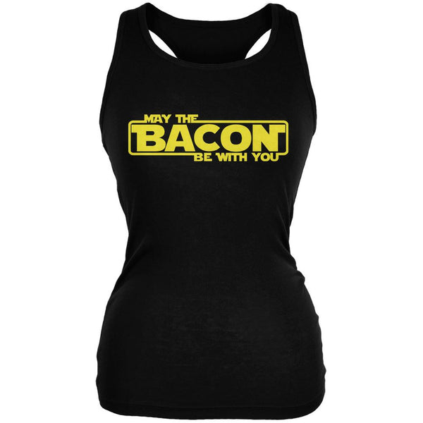 May The Bacon Be With You Black Juniors Soft Tank Top