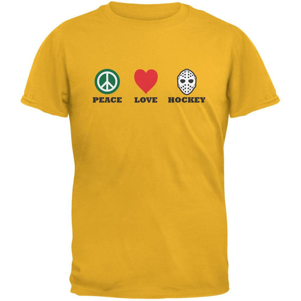 Peace Love Hockey Gold Adult T-Shirt