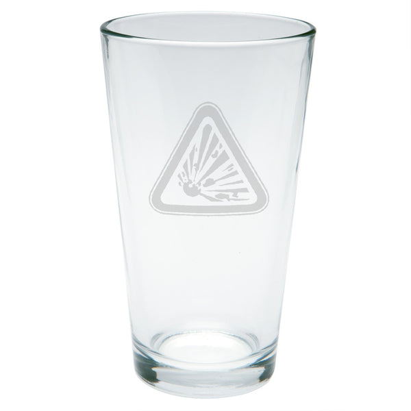 Hazmat Explosive Etched Pint Glass