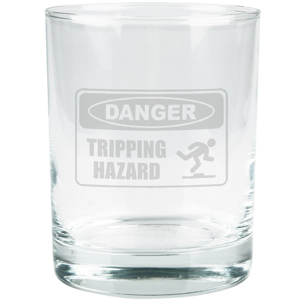 Danger Tripping Hazard Etched Glass Tumbler