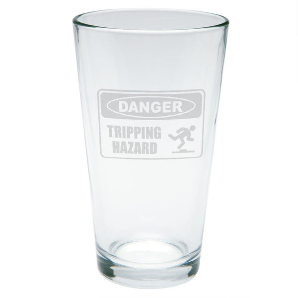Danger Tripping Hazard Etched Pint Glass