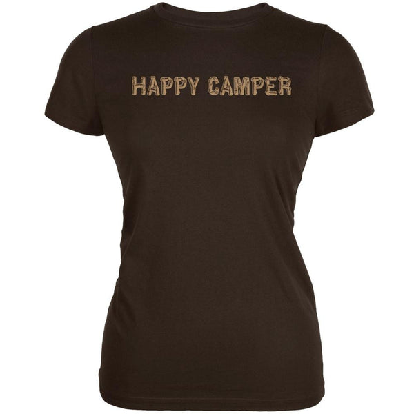 Happy Camper Brown Juniors Soft T-Shirt