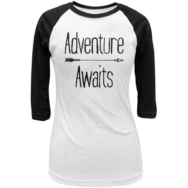 Adventure Awaits Native Arrow White/Black Juniors 3/4 Sleeve Raglan T-Shirt