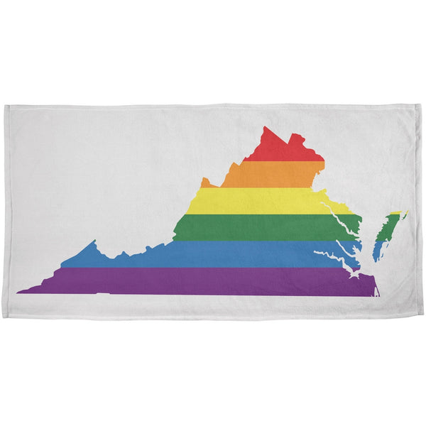 LGBT Virginia State Gay Pride Rainbow All Over Plush Beach Towel