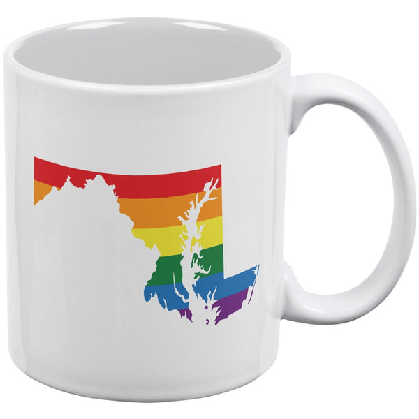 LGBT Maryland State Gay Pride Rainbow White All Over Coffee Mug