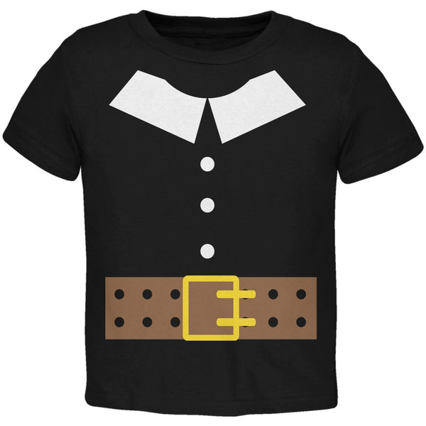 Halloween Pilgrim Costume Black Toddler T-Shirt